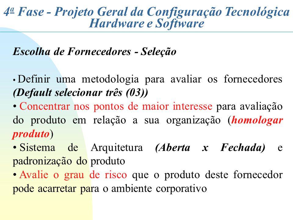 4 a Fase - Projeto Geral da Configuração Tecnológica Hardware e Software Escolha de Fornecedores - Seleção Definir uma metodologia para avaliar os for