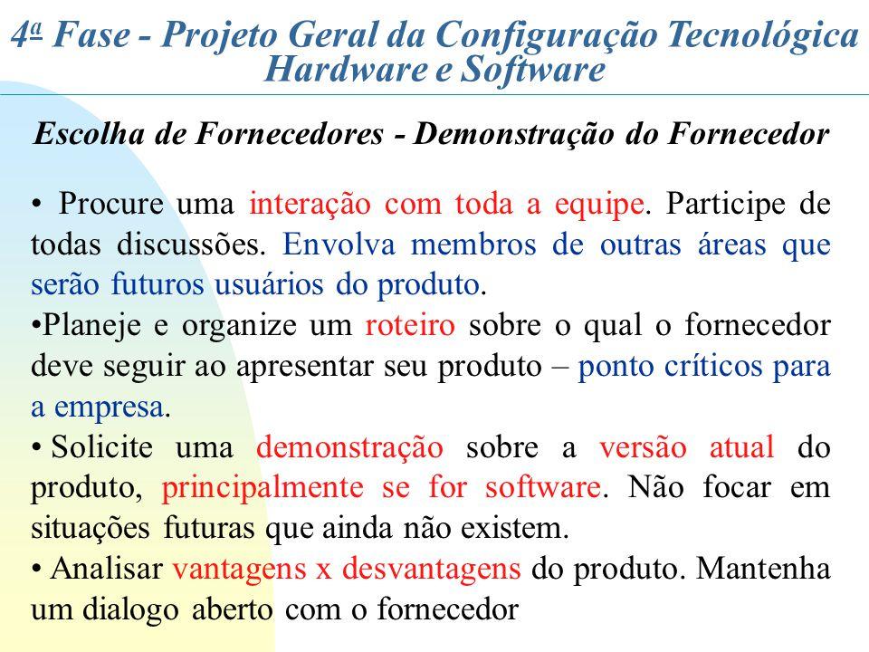 4 a Fase - Projeto Geral da Configuração Tecnológica Hardware e Software Escolha de Fornecedores - Demonstração do Fornecedor Procure uma interação co