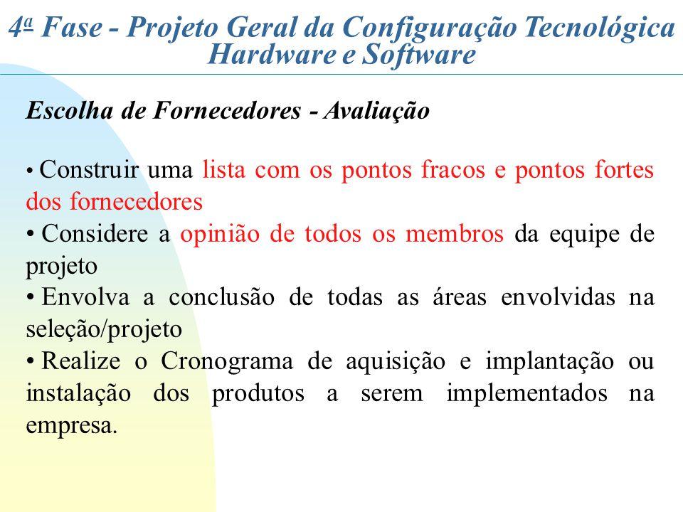 4 a Fase - Projeto Geral da Configuração Tecnológica Hardware e Software Escolha de Fornecedores - Avaliação Construir uma lista com os pontos fracos