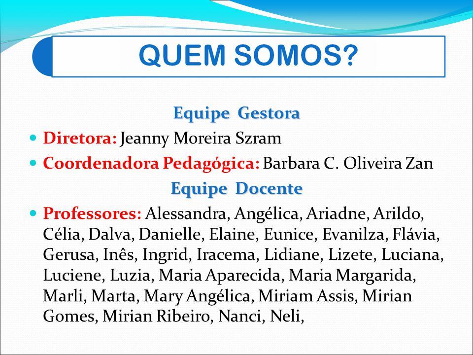 Equipe Gestora Diretora: Jeanny Moreira Szram Coordenadora Pedagógica: Barbara C. Oliveira Zan Equipe Docente Professores: Alessandra, Angélica, Ariad