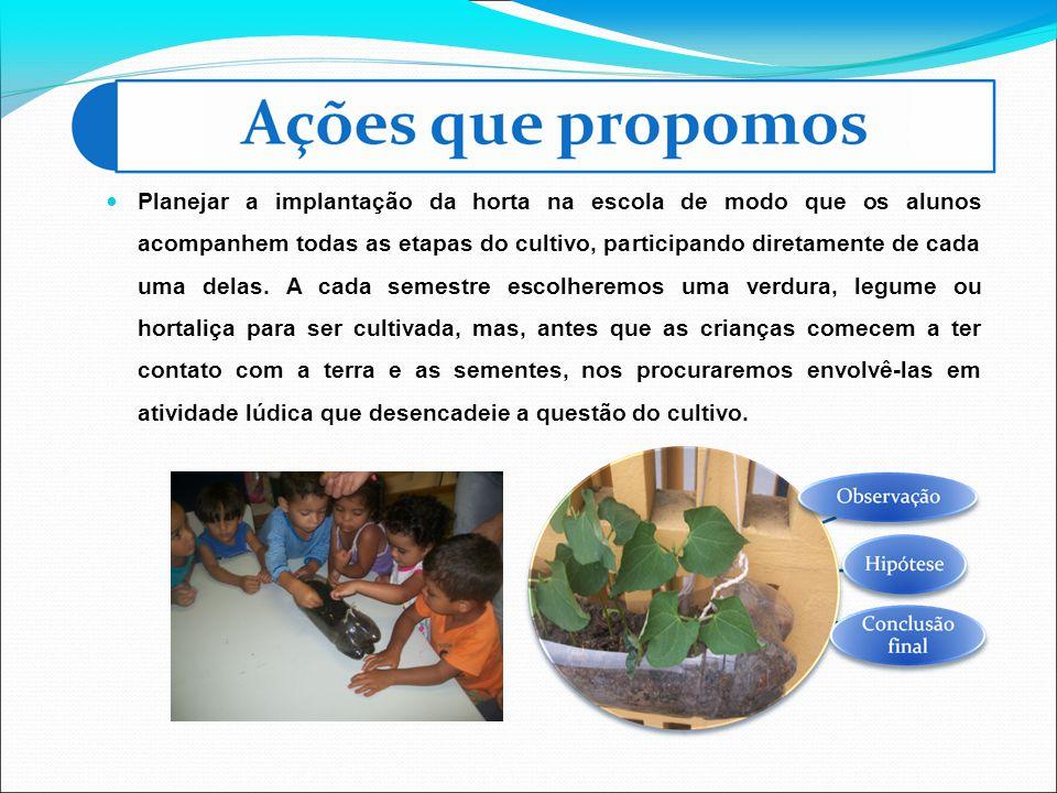 Planejar a implantação da horta na escola de modo que os alunos acompanhem todas as etapas do cultivo, participando diretamente de cada uma delas. A c