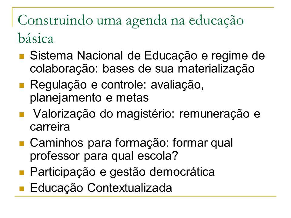 Construindo uma agenda na educação básica Sistema Nacional de Educação e regime de colaboração: bases de sua materialização Regulação e controle: aval