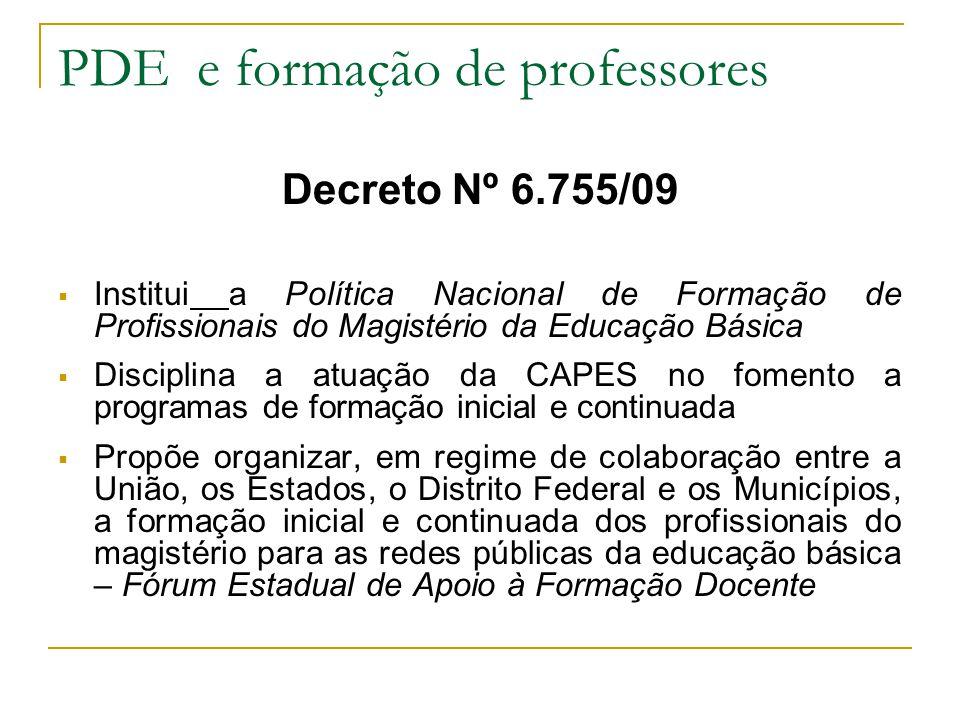 Decreto Nº 6.755/09 Institui a Política Nacional de Formação de Profissionais do Magistério da Educação Básica Disciplina a atuação da CAPES no foment