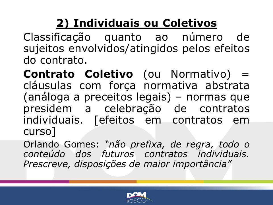 2) Individuais ou Coletivos Classificação quanto ao número de sujeitos envolvidos/atingidos pelos efeitos do contrato. Contrato Coletivo (ou Normativo