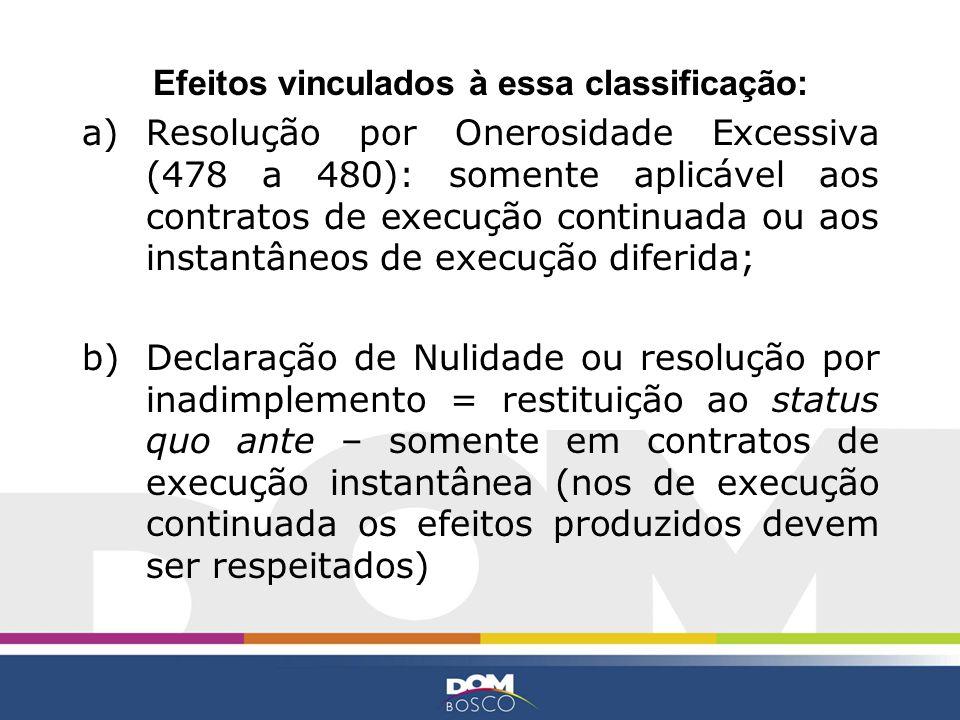 Efeitos vinculados à essa classificação: a)Resolução por Onerosidade Excessiva (478 a 480): somente aplicável aos contratos de execução continuada ou