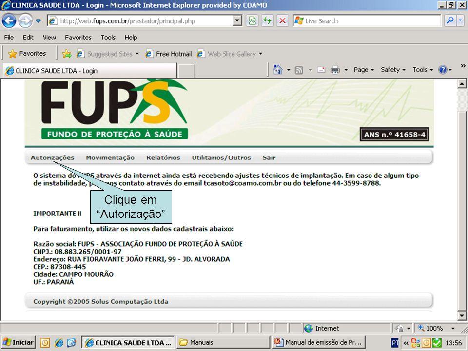 Clique em Autorização de Procedimento