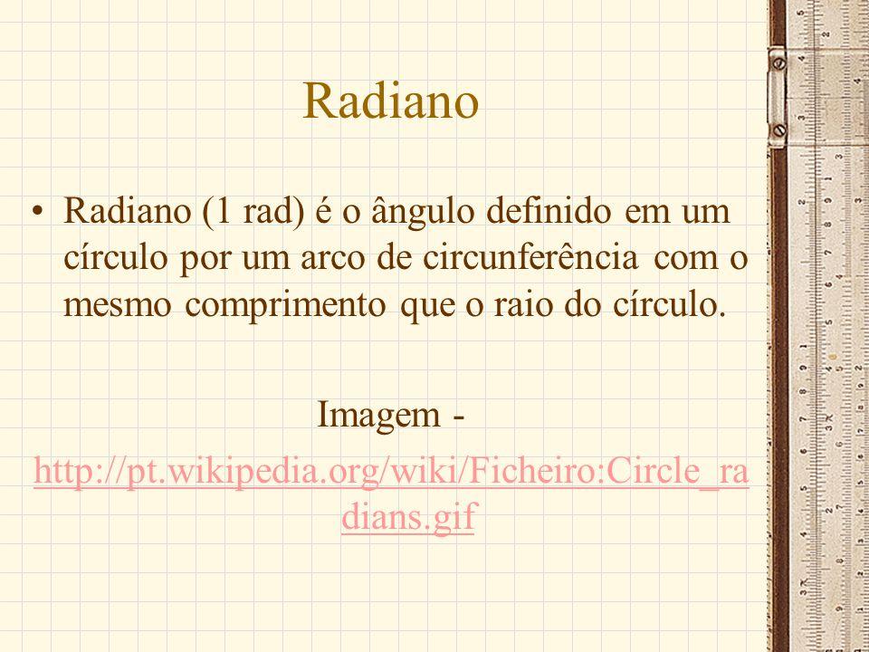 Circunferência de centro na origem do sistema, de raio unitário r = 1; Arcos de origem ponto A (1,0); Medidas algébricas positivas no sentido anti-horário, negativas sentido horário; Divisão dos quatros quadrantes sentido anti-horário