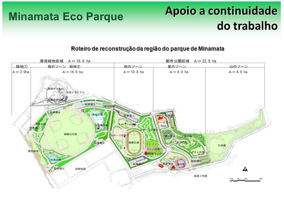 Ground plan (produção/cultivo em estufas) Jardim de Rosas/Canteiro de Flores Apoio a continuidade do trabalho Minamata Eco Parque Roteiro de reconstrução da região do parque de Minamata