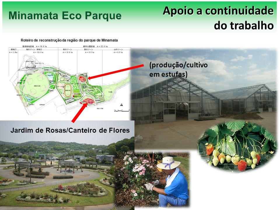 Ground plan (produção/cultivo em estufas) Jardim de Rosas/Canteiro de Flores Apoio a continuidade do trabalho Minamata Eco Parque Roteiro de reconstru