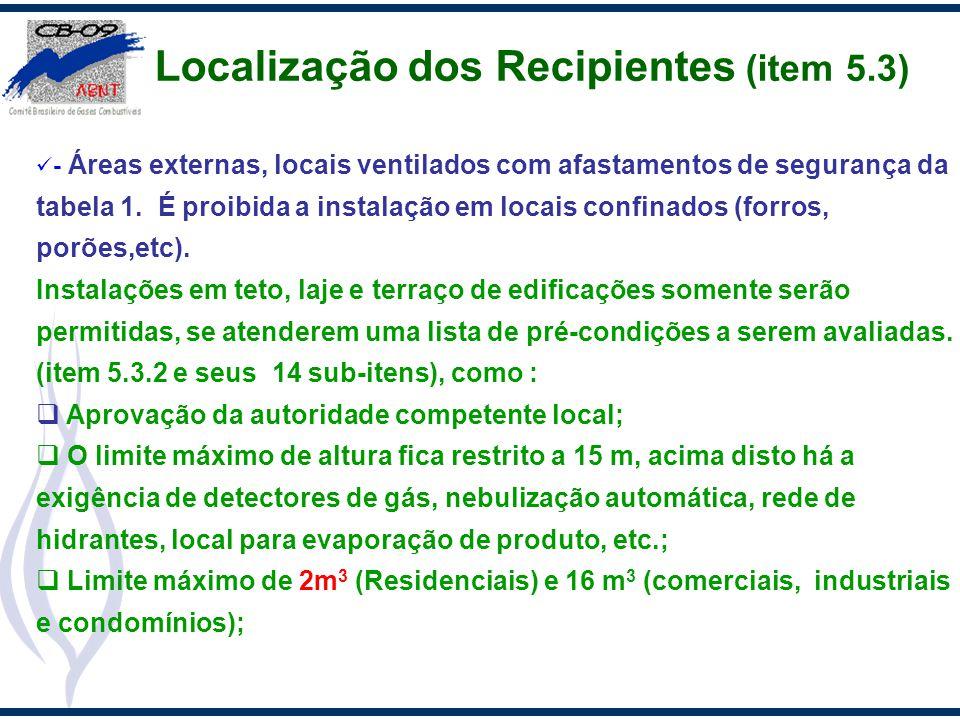 Localização dos Recipientes (item 5.3) - Áreas externas, locais ventilados com afastamentos de segurança da tabela 1. É proibida a instalação em locai