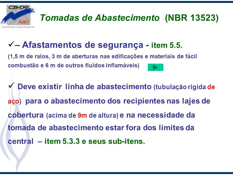 Tomadas de Abastecimento (NBR 13523) – Afastamentos de segurança - item 5.5. (1,5 m de ralos, 3 m de aberturas nas edificações e materiais de fácil co