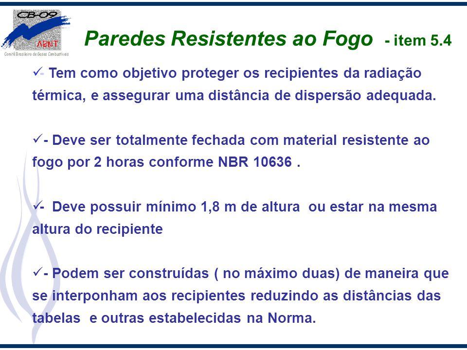 Paredes Resistentes ao Fogo - item 5.4 - Tem como objetivo proteger os recipientes da radiação térmica, e assegurar uma distância de dispersão adequad