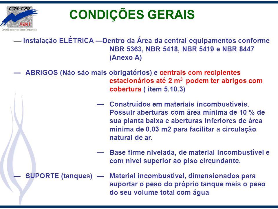 CONDIÇÕES GERAIS Instalação ELÉTRICA Dentro da Área da central equipamentos conforme NBR 5363, NBR 5418, NBR 5419 e NBR 8447 (Anexo A) ABRIGOS (Não sã