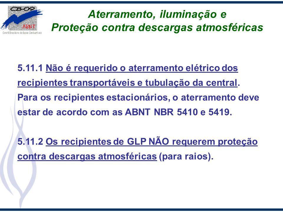 Aterramento, iluminação e Proteção contra descargas atmosféricas 5.11.1 Não é requerido o aterramento elétrico dos recipientes transportáveis e tubula