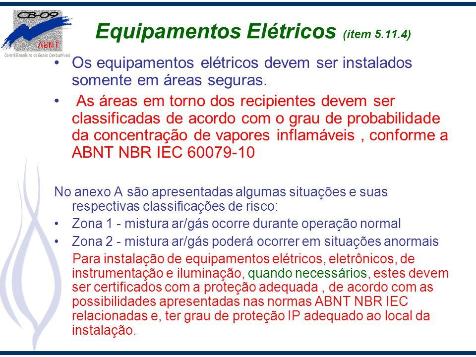 Equipamentos Elétricos (item 5.11.4) Os equipamentos elétricos devem ser instalados somente em áreas seguras. As áreas em torno dos recipientes devem