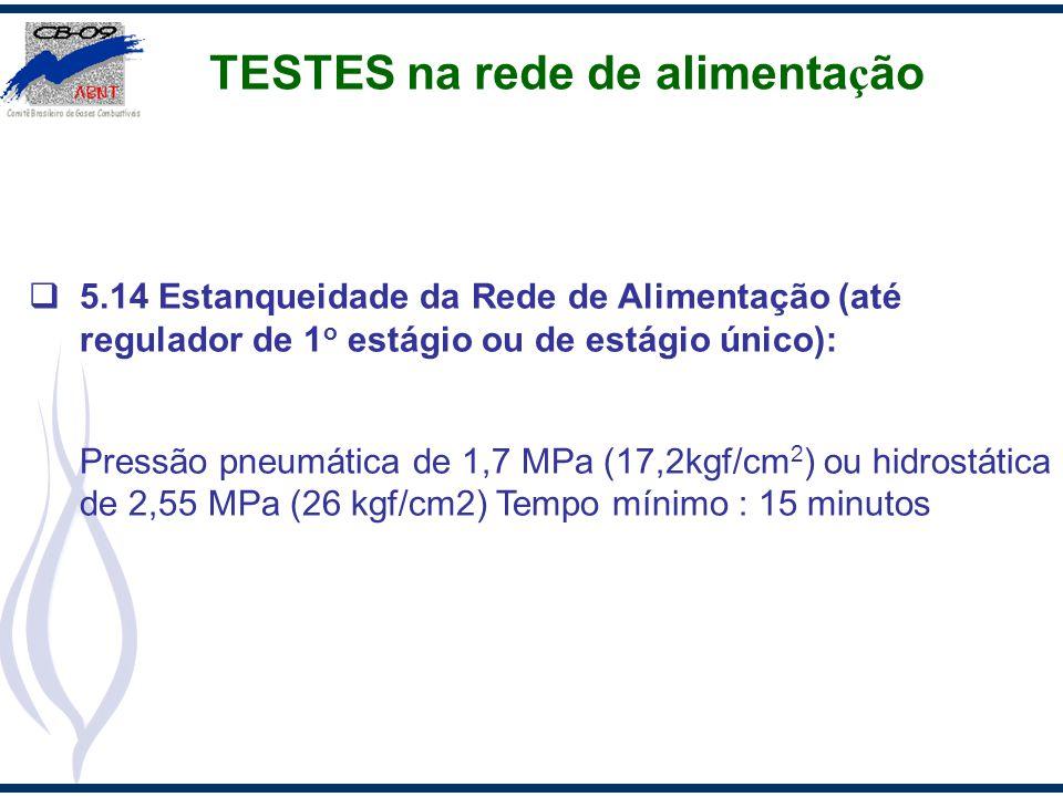 TESTES na rede de alimenta ç ão 5.14 Estanqueidade da Rede de Alimentação (até regulador de 1 o estágio ou de estágio único): Pressão pneumática de 1,