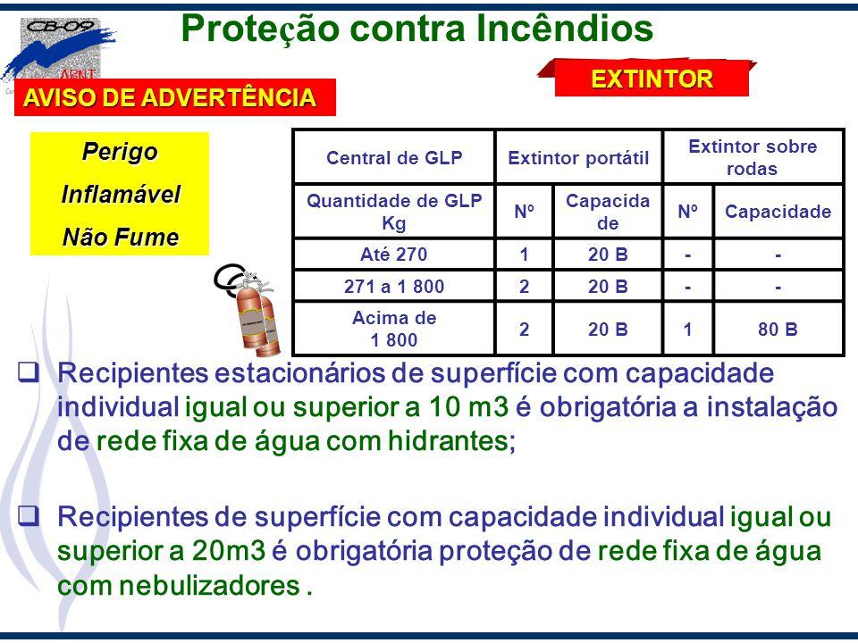 Prote ç ão contra Incêndios Recipientes estacionários de superfície com capacidade individual igual ou superior a 10 m3 é obrigatória a instalação de