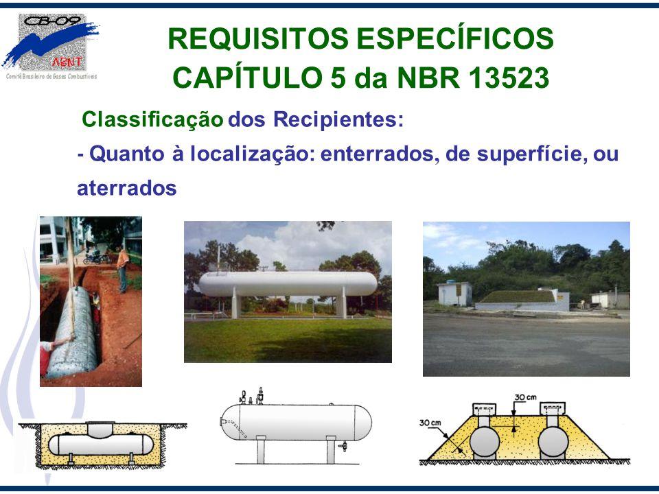Classificação dos Recipientes: - Quanto à localização: enterrados, de superfície, ou aterrados REQUISITOS ESPECÍFICOS CAPÍTULO 5 da NBR 13523