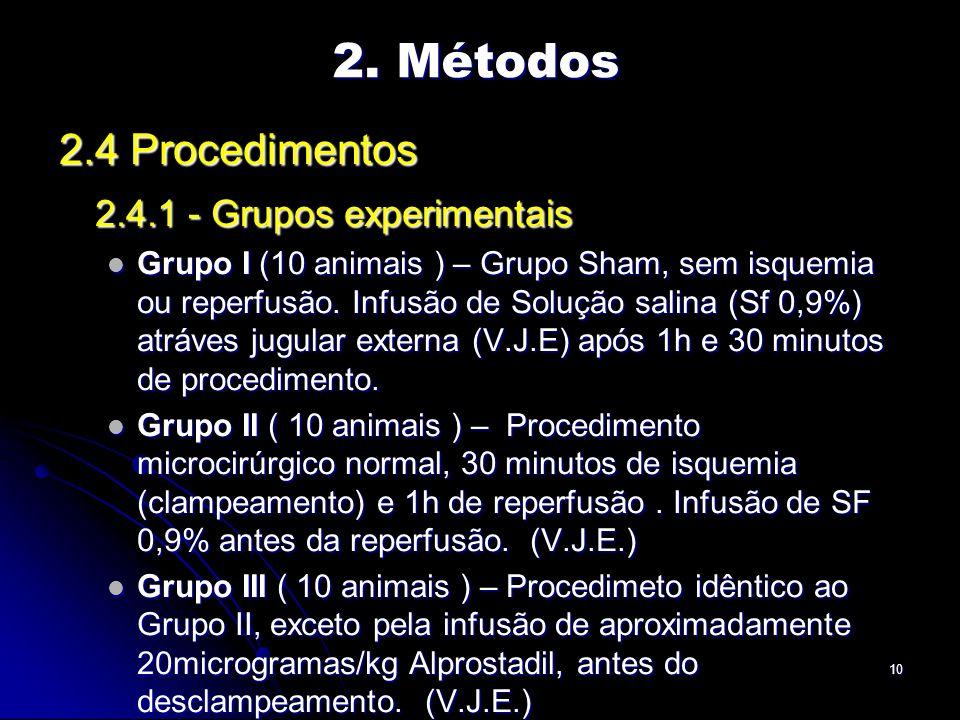 10 2.4 Procedimentos 2.4.1 - Grupos experimentais Grupo I (10 animais ) – Grupo Sham, sem isquemia ou reperfusão.