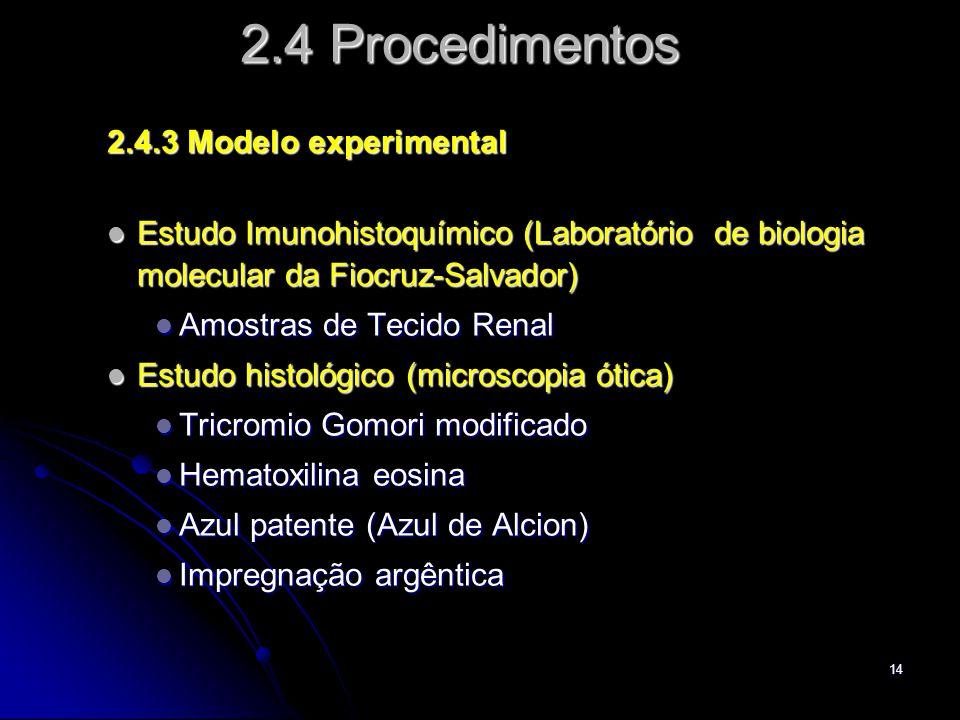 14 2.4 Procedimentos 2.4.3 Modelo experimental Estudo Imunohistoquímico (Laboratório de biologia molecular da Fiocruz-Salvador) Estudo Imunohistoquímico (Laboratório de biologia molecular da Fiocruz-Salvador) Amostras de Tecido Renal Amostras de Tecido Renal Estudo histológico (microscopia ótica) Estudo histológico (microscopia ótica) Tricromio Gomori modificado Tricromio Gomori modificado Hematoxilina eosina Hematoxilina eosina Azul patente (Azul de Alcion) Azul patente (Azul de Alcion) Impregnação argêntica Impregnação argêntica