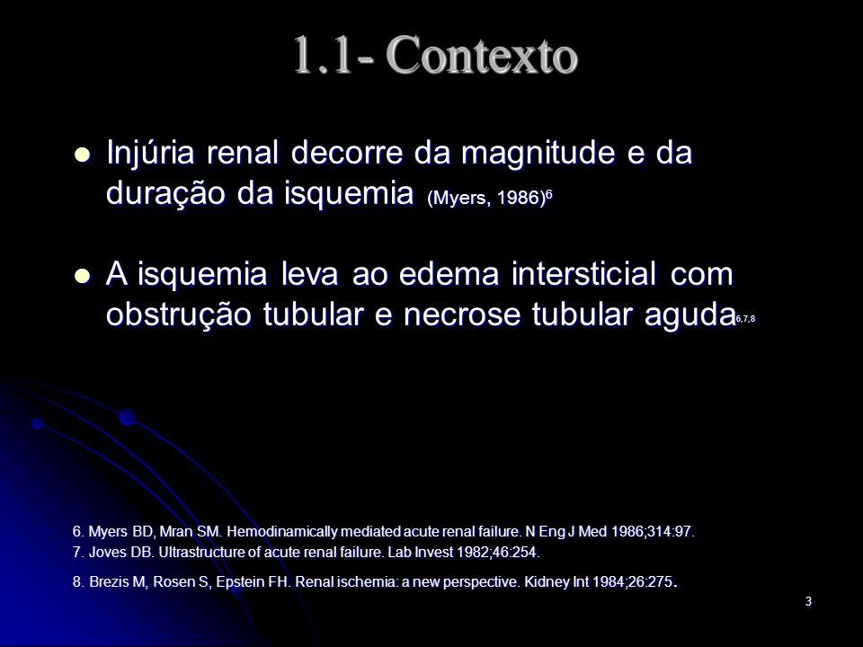 3 1.1- Contexto Injúria renal decorre da magnitude e da duração da isquemia (Myers, 1986) 6 Injúria renal decorre da magnitude e da duração da isquemia (Myers, 1986) 6 A isquemia leva ao edema intersticial com obstrução tubular e necrose tubular aguda 6,7,8 A isquemia leva ao edema intersticial com obstrução tubular e necrose tubular aguda 6,7,8 6.
