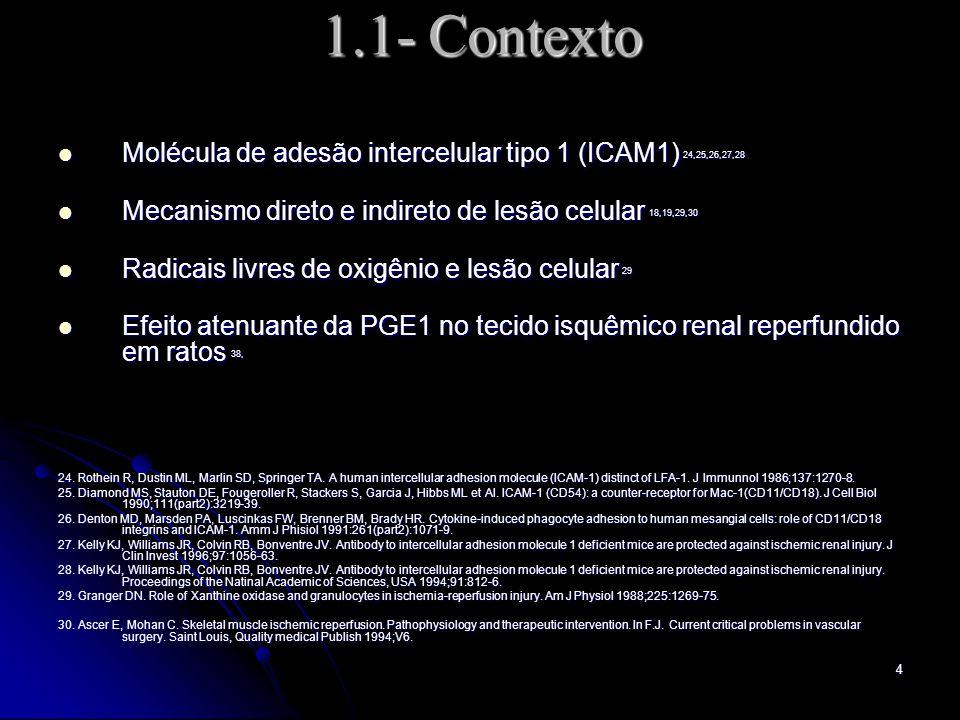 4 1.1- Contexto Molécula de adesão intercelular tipo 1 (ICAM1) 24,25,26,27,28 Molécula de adesão intercelular tipo 1 (ICAM1) 24,25,26,27,28 Mecanismo direto e indireto de lesão celular 18,19,29,30 Mecanismo direto e indireto de lesão celular 18,19,29,30 Radicais livres de oxigênio e lesão celular 29 Radicais livres de oxigênio e lesão celular 29 Efeito atenuante da PGE1 no tecido isquêmico renal reperfundido em ratos 38, Efeito atenuante da PGE1 no tecido isquêmico renal reperfundido em ratos 38, 24.