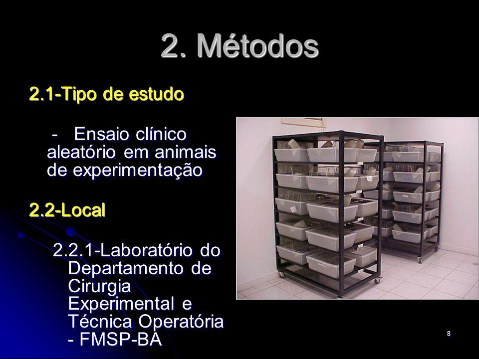 8 2. Métodos 2.1-Tipo de estudo - Ensaio clínico aleatório em animais de experimentação - Ensaio clínico aleatório em animais de experimentação2.2-Loc
