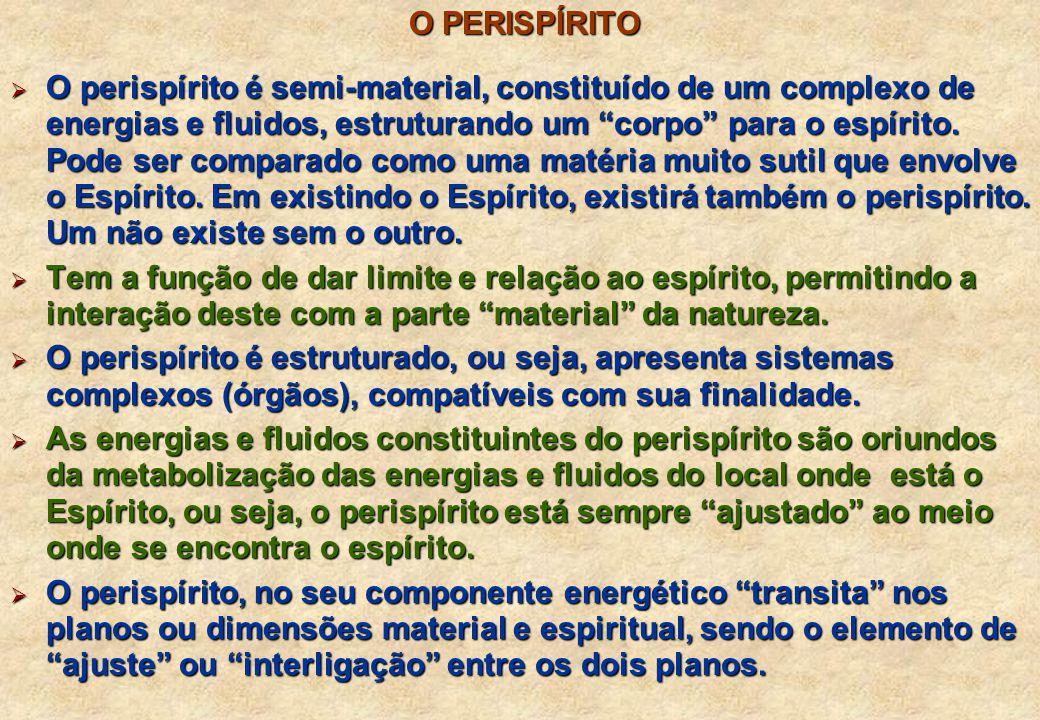 O PERISPÍRITO O PERISPÍRITO O perispírito é semi-material, constituído de um complexo de energias e fluidos, estruturando um corpo para o espírito.