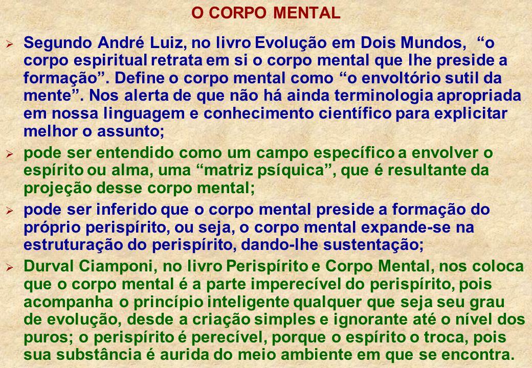 O CORPO MENTAL Segundo André Luiz, no livro Evolução em Dois Mundos, o corpo espiritual retrata em si o corpo mental que lhe preside a formação.