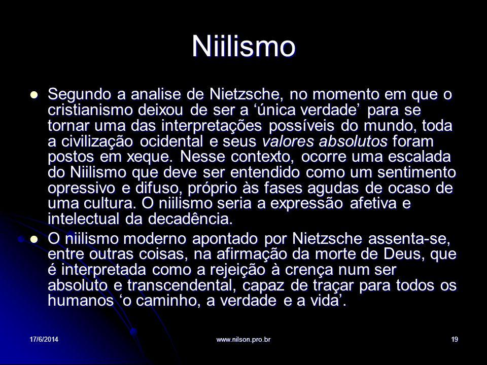 Niilismo Segundo a analise de Nietzsche, no momento em que o cristianismo deixou de ser a única verdade para se tornar uma das interpretações possívei