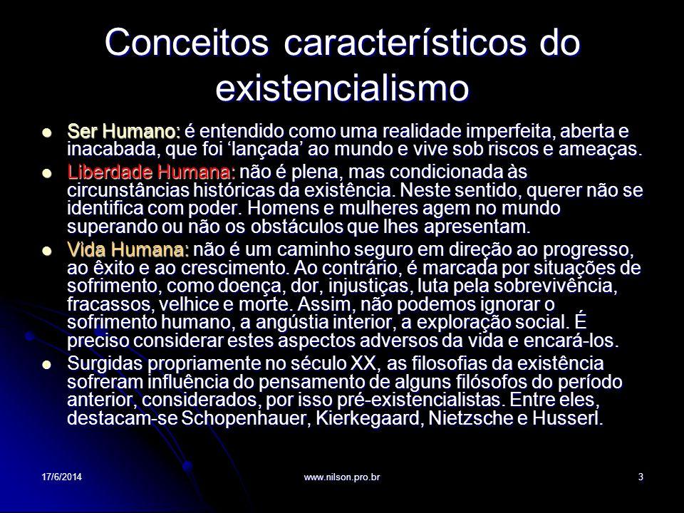 Conceitos característicos do existencialismo Ser Humano: é entendido como uma realidade imperfeita, aberta e inacabada, que foi lançada ao mundo e viv