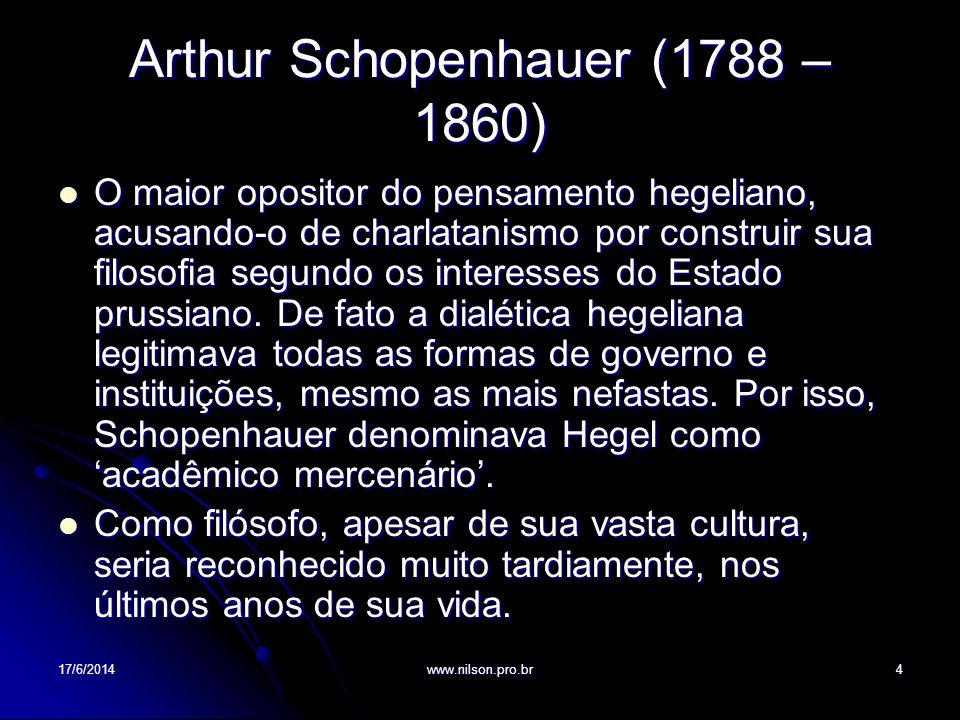 Arthur Schopenhauer (1788 – 1860) O maior opositor do pensamento hegeliano, acusando-o de charlatanismo por construir sua filosofia segundo os interes