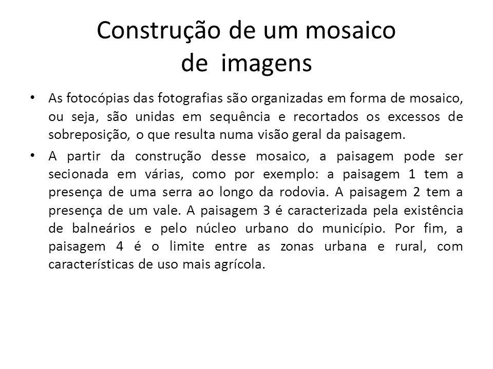 Construção de um mosaico de imagens As fotocópias das fotografias são organizadas em forma de mosaico, ou seja, são unidas em sequência e recortados o