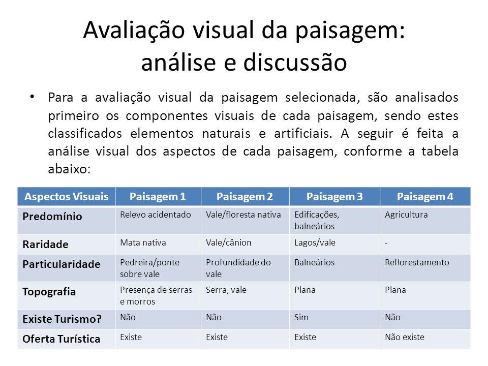 Avaliação visual da paisagem: análise e discussão Para a avaliação visual da paisagem selecionada, são analisados primeiro os componentes visuais de c