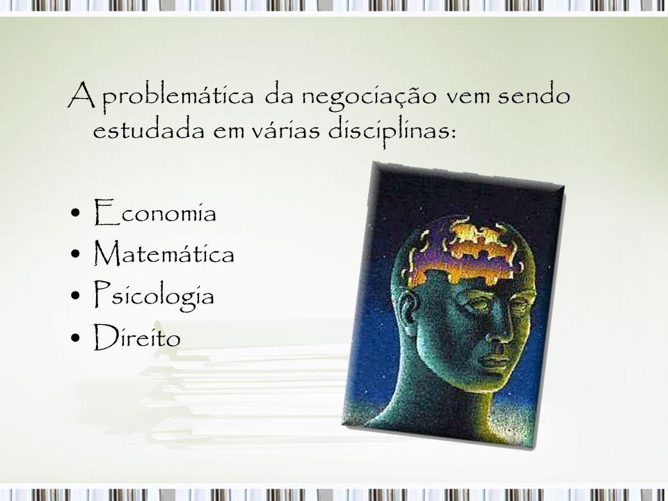 A problemática da negociação vem sendo estudada em várias disciplinas: Economia Matemática Psicologia Direito