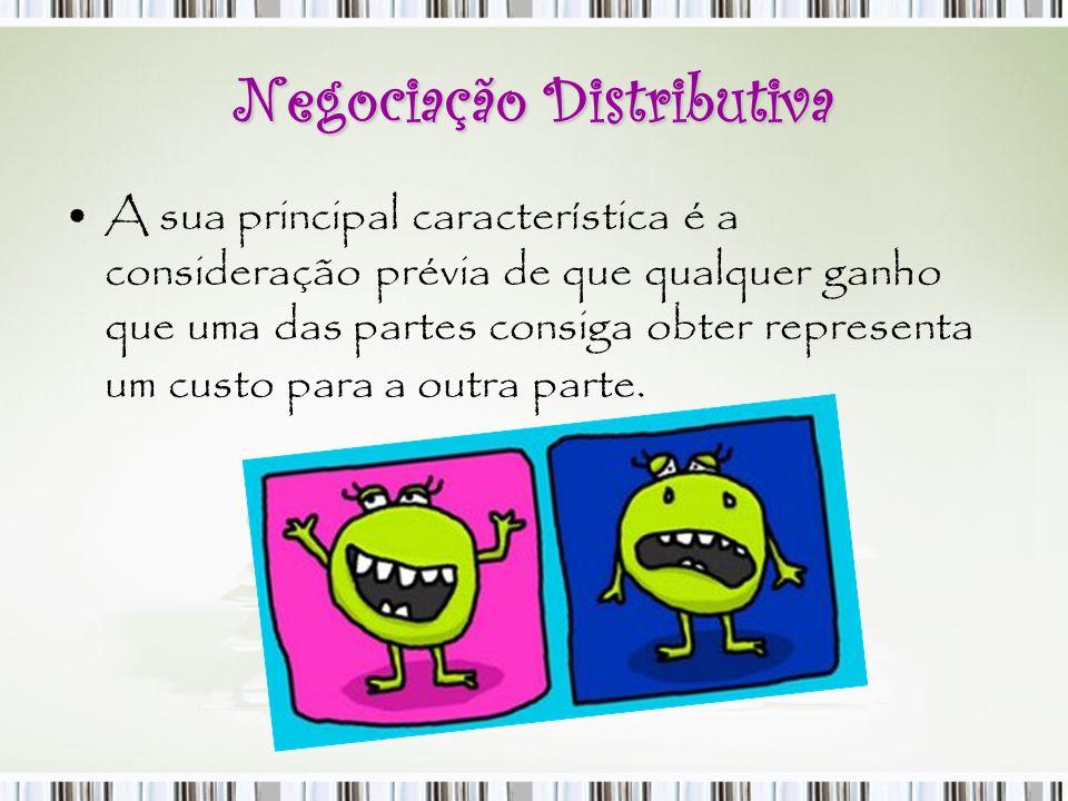 Negociação Distributiva A sua principal característica é a consideração prévia de que qualquer ganho que uma das partes consiga obter representa um cu