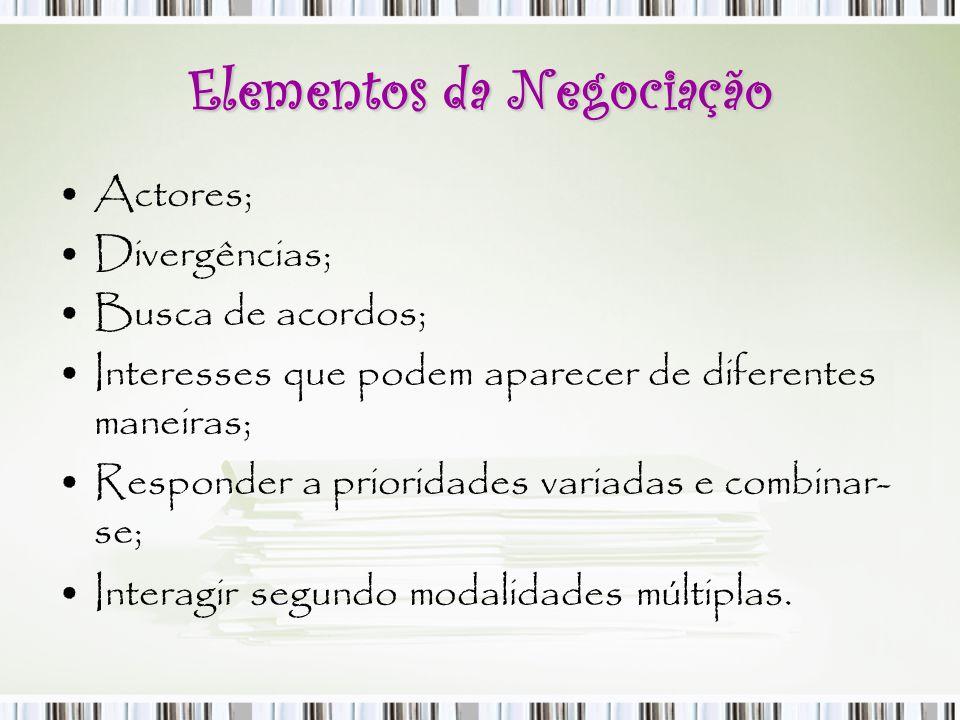 Elementos da Negociação Actores; Divergências; Busca de acordos; Interesses que podem aparecer de diferentes maneiras; Responder a prioridades variada