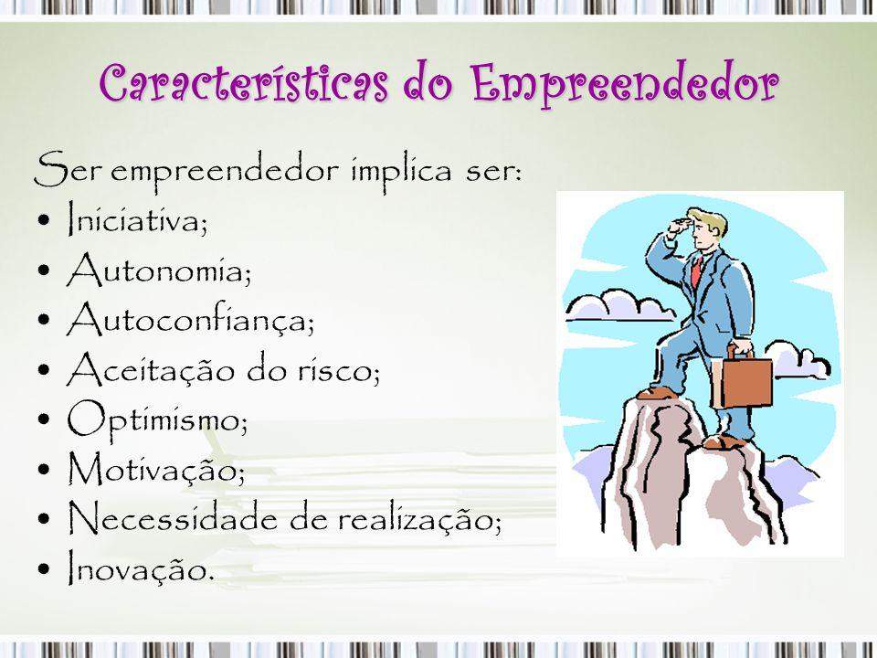 Características do Empreendedor Ser empreendedor implica ser: Iniciativa; Autonomia; Autoconfiança; Aceitação do risco; Optimismo; Motivação; Necessid