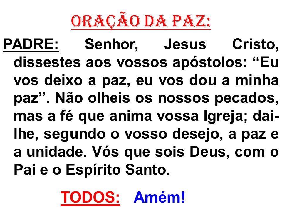 ORAÇÃO DA PAZ: PADRE: Senhor, Jesus Cristo, dissestes aos vossos apóstolos: Eu vos deixo a paz, eu vos dou a minha paz. Não olheis os nossos pecados,