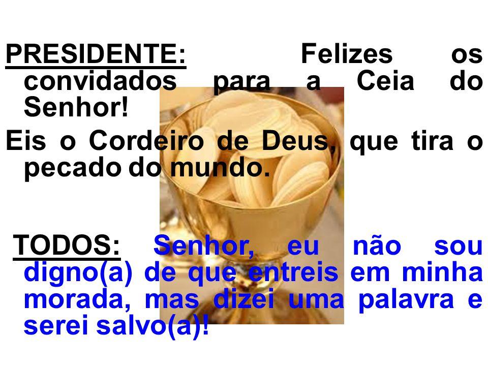 PRESIDENTE: Felizes os convidados para a Ceia do Senhor! Eis o Cordeiro de Deus, que tira o pecado do mundo. TODOS: Senhor, eu não sou digno(a) de que