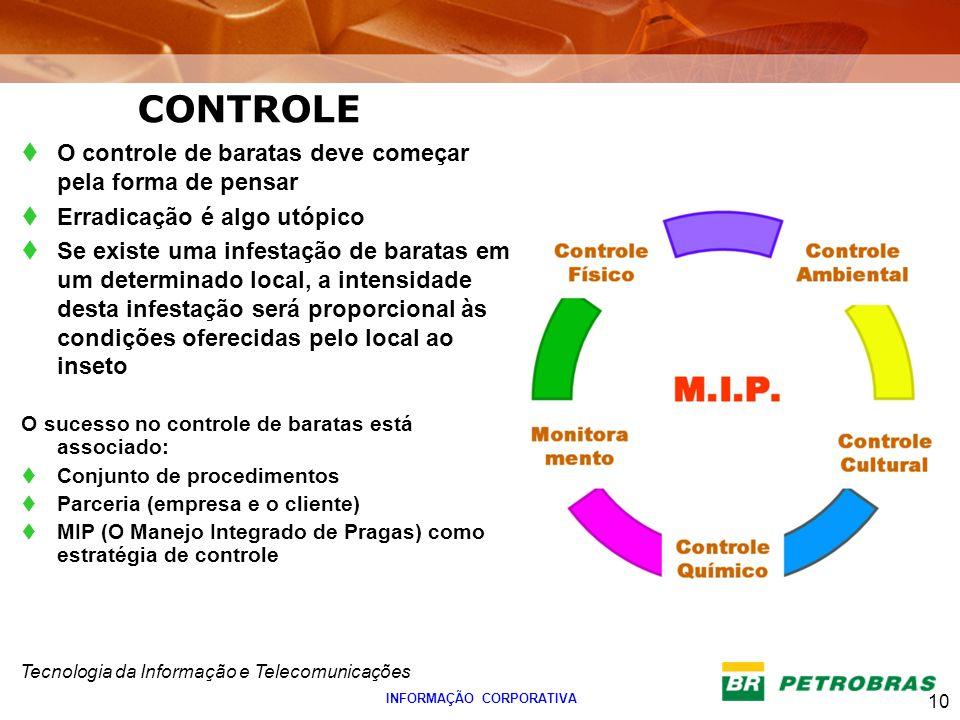 Tecnologia da Informação e Telecomunicações 10 INFORMAÇÃO CORPORATIVA O controle de baratas deve começar pela forma de pensar Erradicação é algo utópi