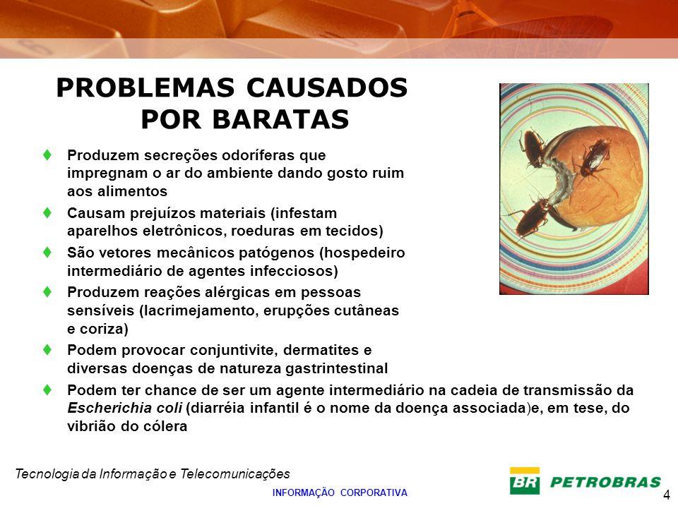 Tecnologia da Informação e Telecomunicações 4 INFORMAÇÃO CORPORATIVA PROBLEMAS CAUSADOS POR BARATAS Produzem secreções odoríferas que impregnam o ar d