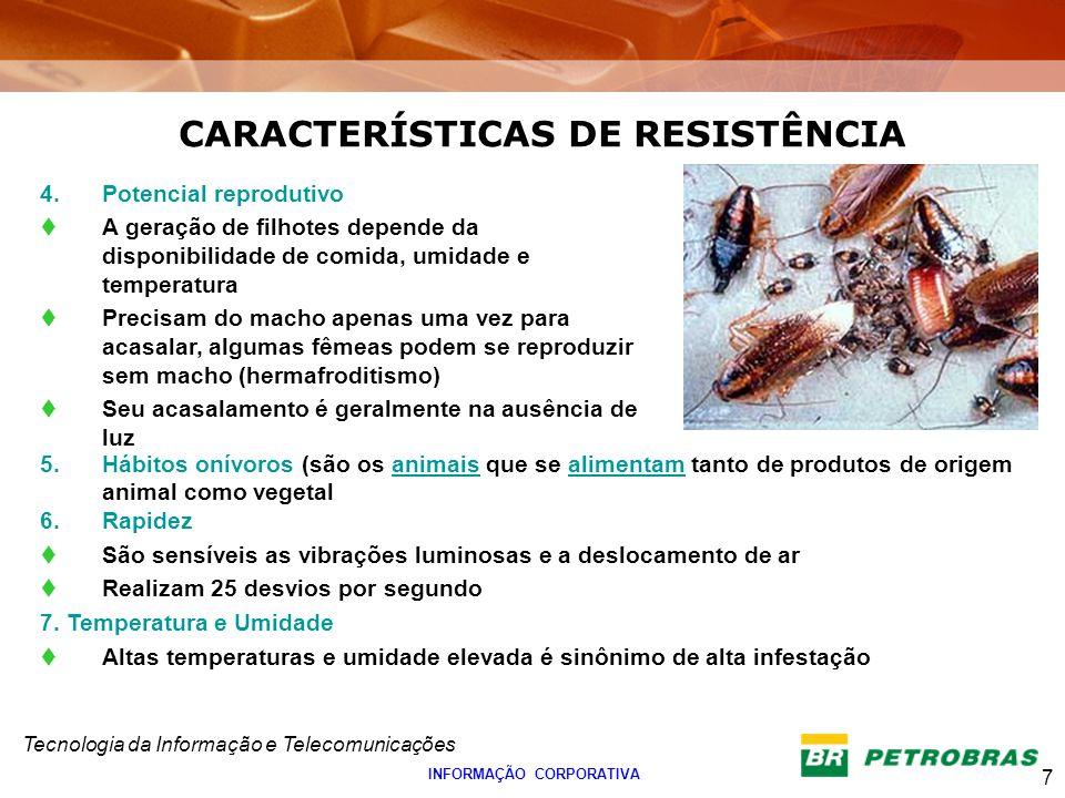 Tecnologia da Informação e Telecomunicações 7 INFORMAÇÃO CORPORATIVA 4.Potencial reprodutivo A geração de filhotes depende da disponibilidade de comid