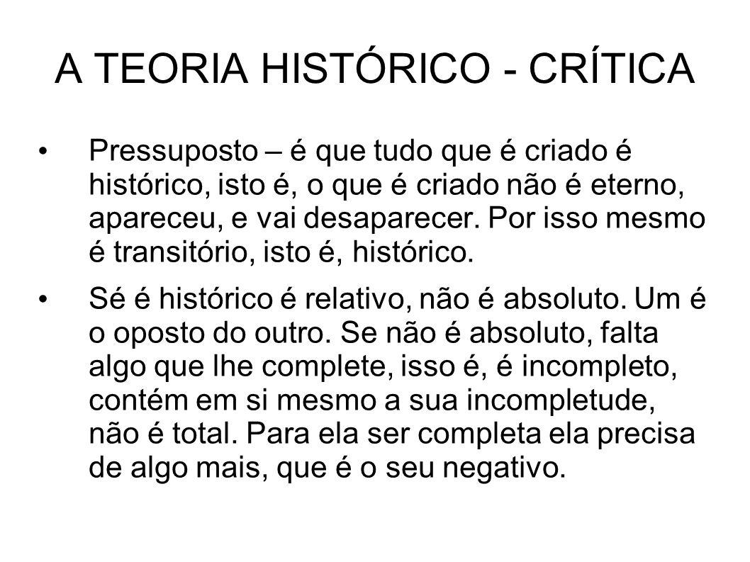 A TEORIA HISTÓRICO - CRÍTICA Pressuposto – é que tudo que é criado é histórico, isto é, o que é criado não é eterno, apareceu, e vai desaparecer.