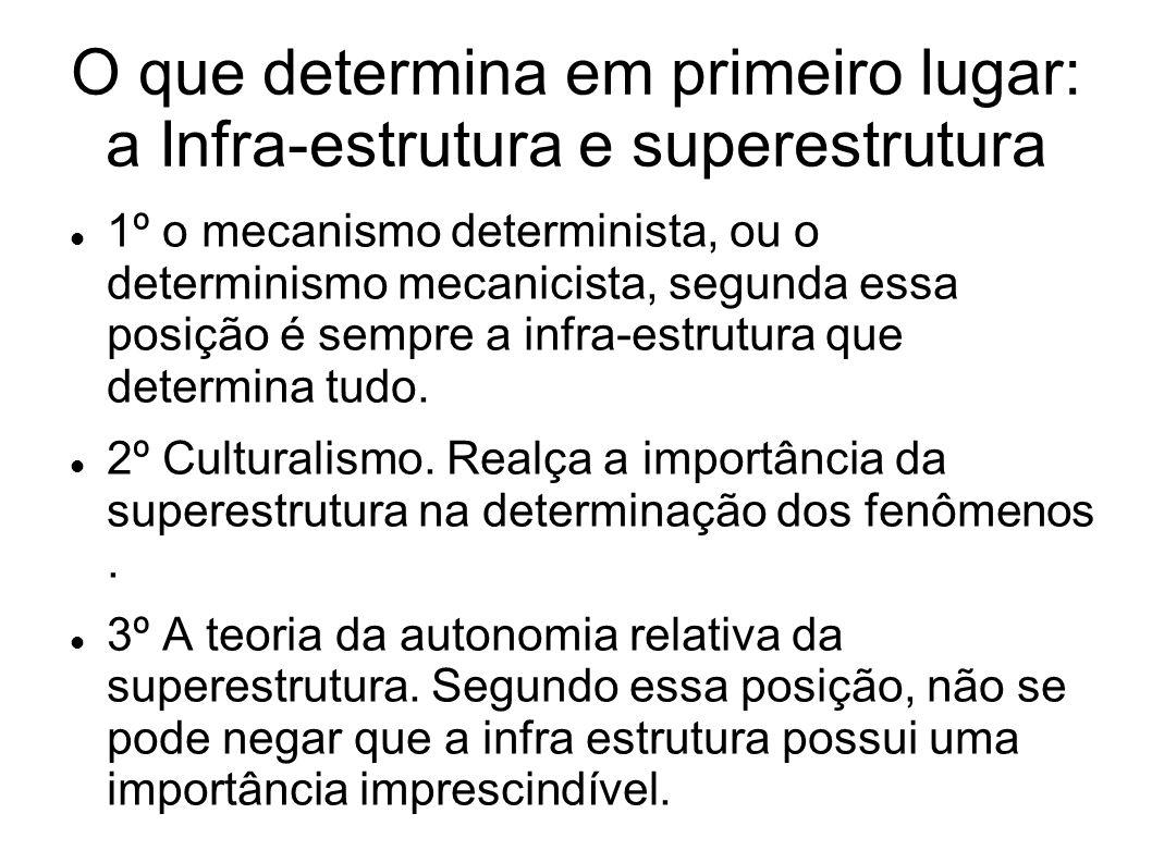 O que determina em primeiro lugar: a Infra-estrutura e superestrutura 1º o mecanismo determinista, ou o determinismo mecanicista, segunda essa posição é sempre a infra-estrutura que determina tudo.