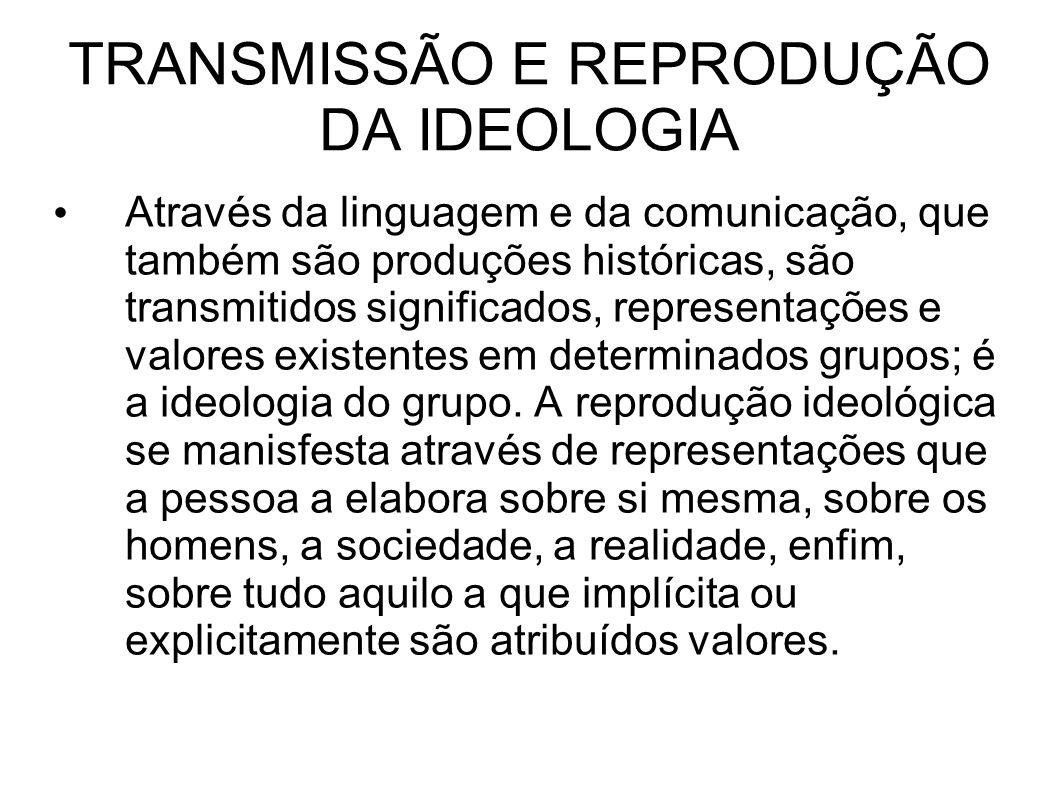 TRANSMISSÃO E REPRODUÇÃO DA IDEOLOGIA Através da linguagem e da comunicação, que também são produções históricas, são transmitidos significados, representações e valores existentes em determinados grupos; é a ideologia do grupo.