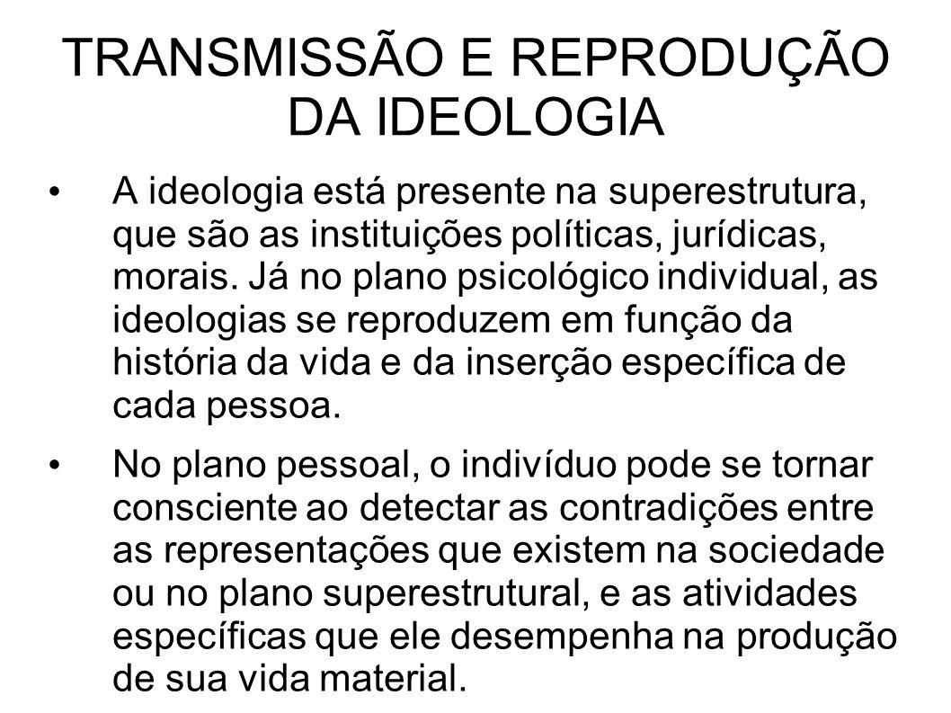 TRANSMISSÃO E REPRODUÇÃO DA IDEOLOGIA A ideologia está presente na superestrutura, que são as instituições políticas, jurídicas, morais.