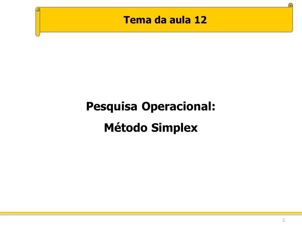 2 Tema da aula 12 Pesquisa Operacional: Método Simplex