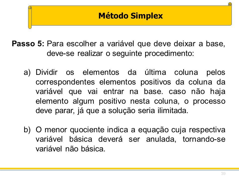 Método Simplex Passo 5:Para escolher a variável que deve deixar a base, deve-se realizar o seguinte procedimento: a)Dividir os elementos da última col