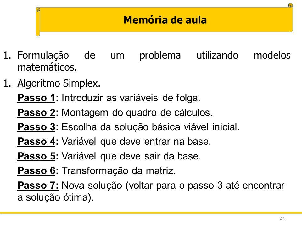 41 Memória de aula 1.Formulação de um problema utilizando modelos matemáticos. 1.Algoritmo Simplex. Passo 1: Introduzir as variáveis de folga. Passo 2